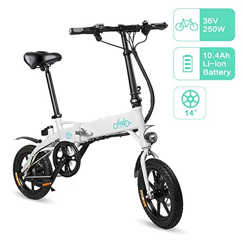FIIDO D1 Bicicleta Eléctrica Urbana, 250W 7.8Ah/10.4Ah Ebike Plegable con Led Luz Bicicleta para Adultos, Bicicleta Eléctrica Plegable con Pedales de Bici (Negro/Blanco)