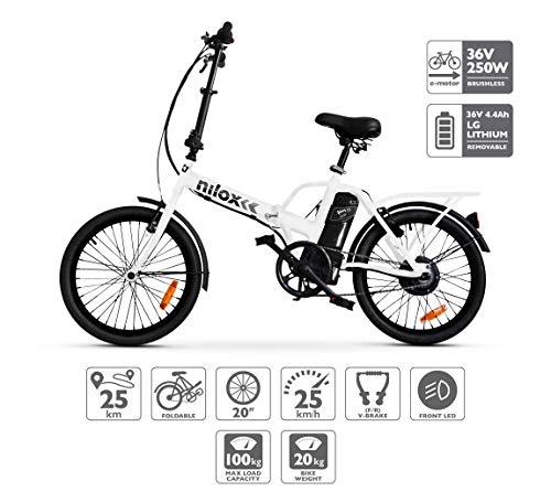 Nilox ebike X1- Bicicleta Eléctrica, Unisex Adulto, Blanco, Talla única