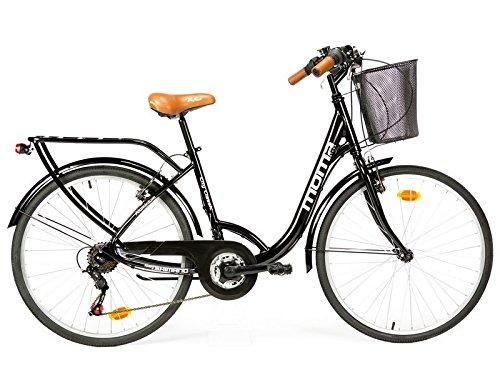 Moma Bikes City Classic 26'- Bicicleta Paseo, Aluminio , Cambio Shimano TZ-50 18 vel., Negro