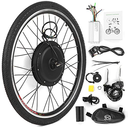 Walmeck- Kit de conversión de Bicicleta eléctrica Bicicleta Rueda Trasera Buje Motor Kit 48V 1000W Potente E-Bike Motor Kit Sin escobillas Controlador Pas Luz de señal Bicicleta Freno Kit de Cambio