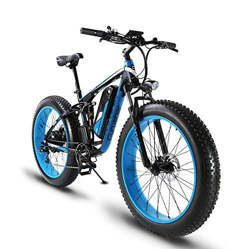 Extrbici MTB Bicicleta Eléctrica Híbrida de Montaña para Hombre 1000W 48V 13A con Puerto USB y Puerto de Carga con Suspensión Completa Inteligente LCD y Neumático Rueda Grande 26 x 4.0 (Negro y Azul)