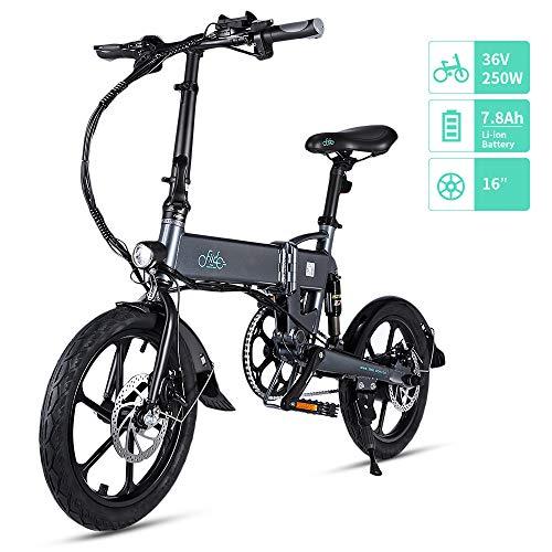 """FIIDO D2/D2S Bicicleta Eléctrica Plegable, 7.8Ah 36V E-Bike 250W con 25km/h de Velocidad Ajustable para Unisex Adulto, Faro LED Delantero Incluido y Ruedas de 16"""""""