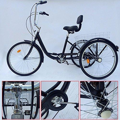Z&Y 3–Triciclo para Adultos 24Adultos Triciclo 6Marchas Bicicleta 2Color, Negro